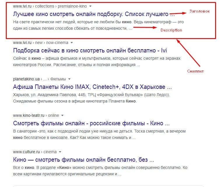Пример сниппетов для Гугл